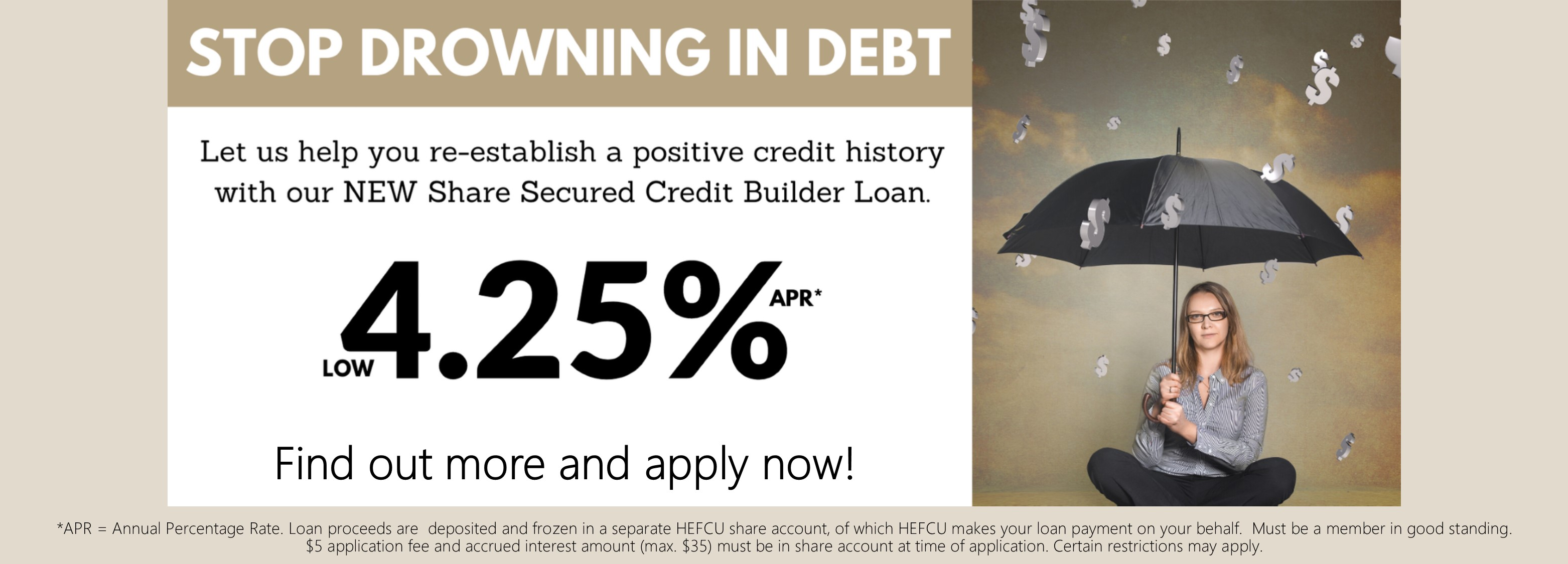 HEFCU can help you re-establish a positive credit history with our new share secured credit builder loan. For more information or to apply go to https://www.hefcu.com/?page_id=2385&preview=true