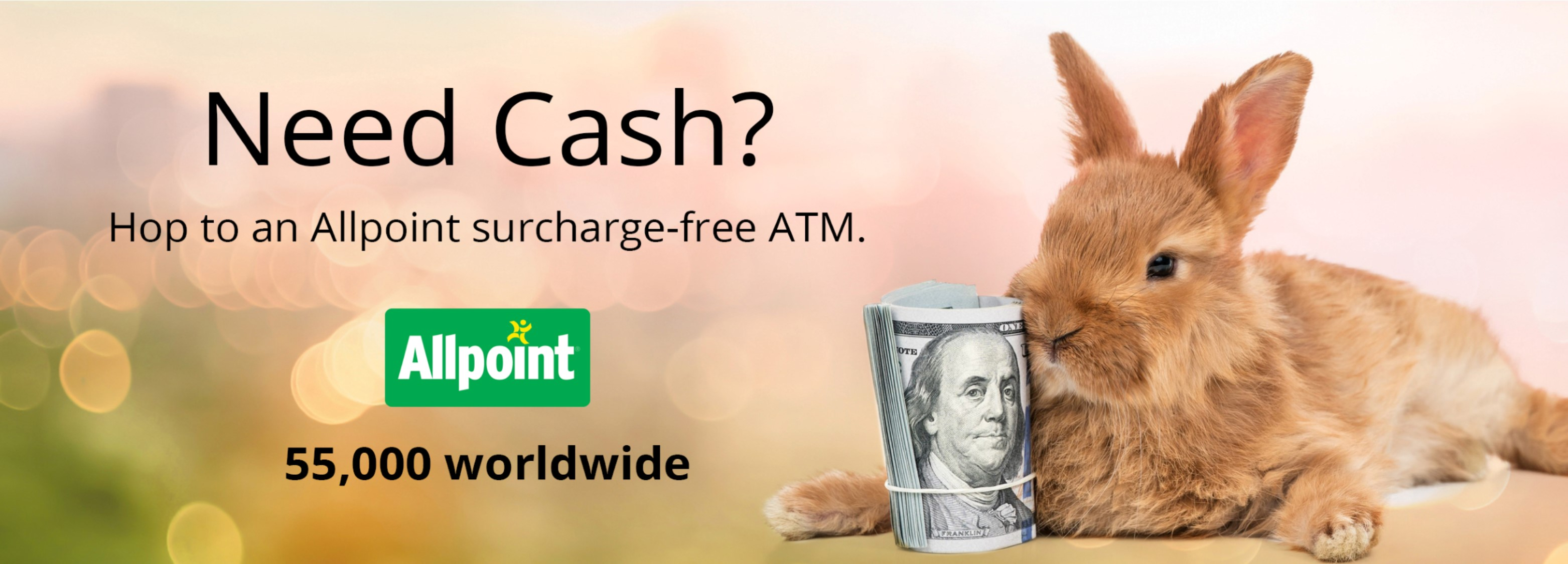 Members have access to 55,000 surcharge-free ATMs with the Allpoint network. Visit https://www.allpointnetwork.com/ to find an ATM today.