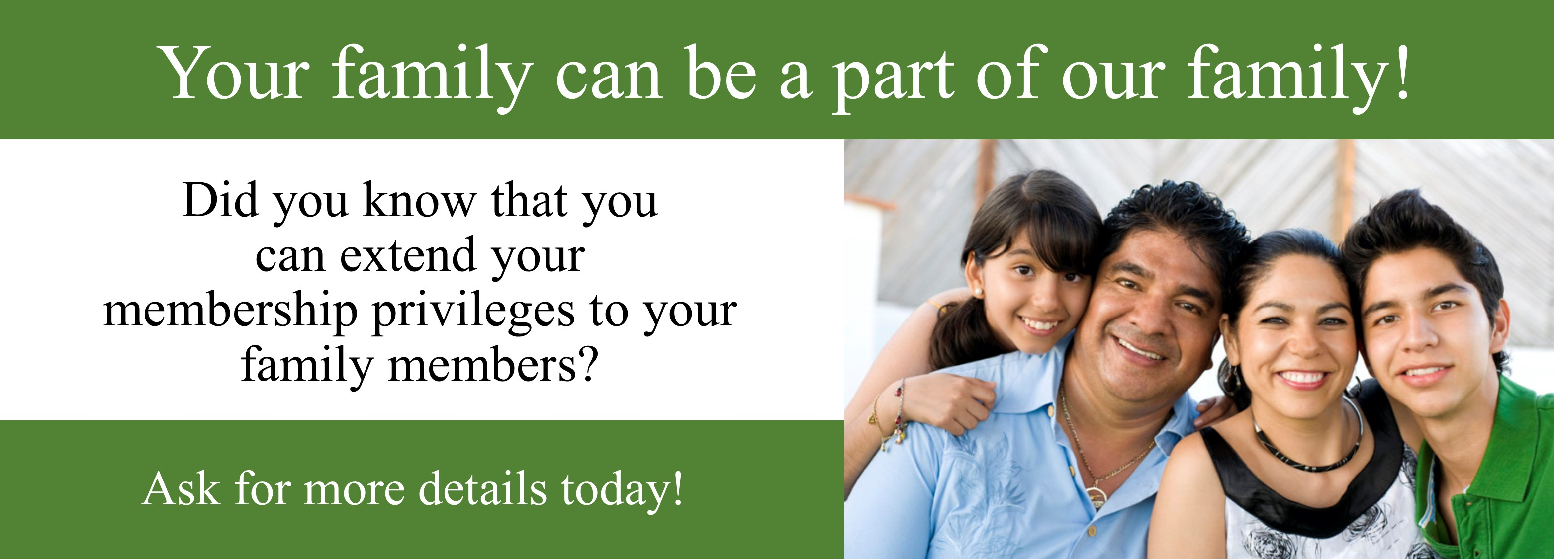 Share the gift of credit union membership with your family. Download our membership application by visiting https://www.hefcu.com/about/membership/ or calling us at 1-800-624-3312.