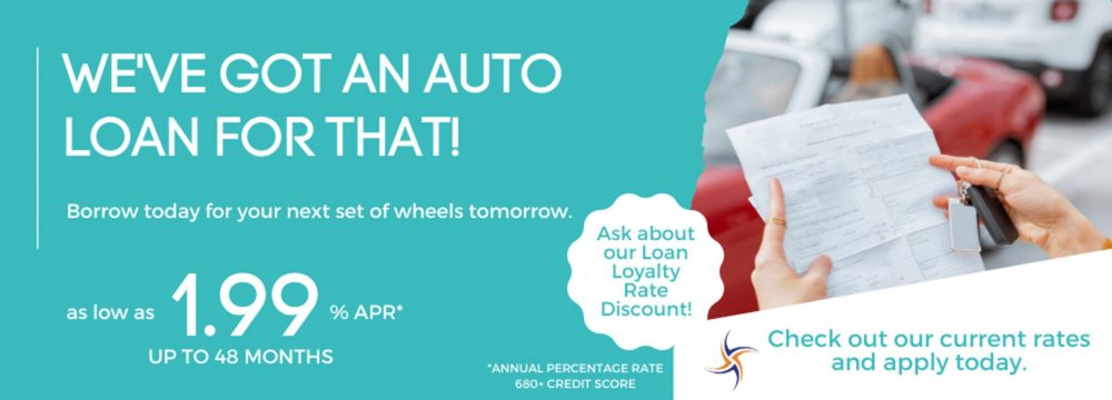 Borrow today for your next set of wheels tomorrow. We've got an auto loan for that! Apply today--call 1-800-624-3312 or online at https://www.cmg.loanliner.com/loanrequest/presenter/LoanList/02911320/652?isframed=F&cuid=02911320&loanlistid=652&channelid=NONE&locationid=7893381300311171126